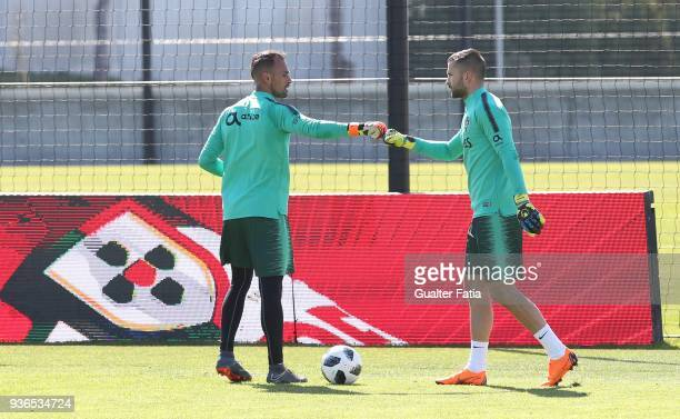 Portugal goalkeeper Beto with Portugal goalkeeper Anthony Lopes in action during Portugal National Team Training session before the friendly matches...