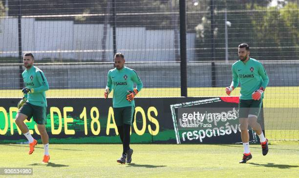 Portugal goalkeepers in action during Portugal National Team Training session before the friendly matches against Egypt and the Netherlands at FPF...