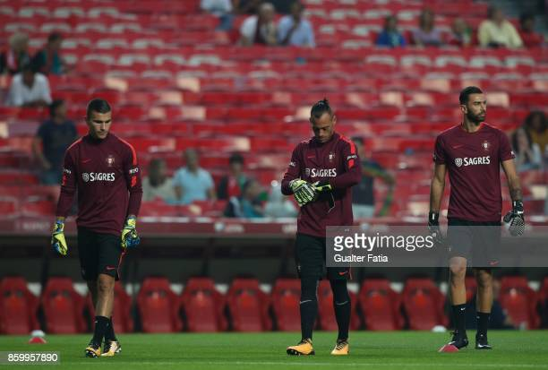 Portugal goalkeepers in action during warm up before the start of the FIFA 2018 World Cup Qualifier match between Portugal and Switzerland at Estadio...