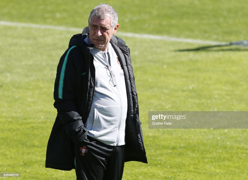 Portugal head coach Fernando Santos in action during Portugal National Team Training session before the friendly matches against Egypt and the Netherlands at FPF Cidade do Futebol on March 21, 2018 in Oeiras (outskirts of Lisbon), Portugal.