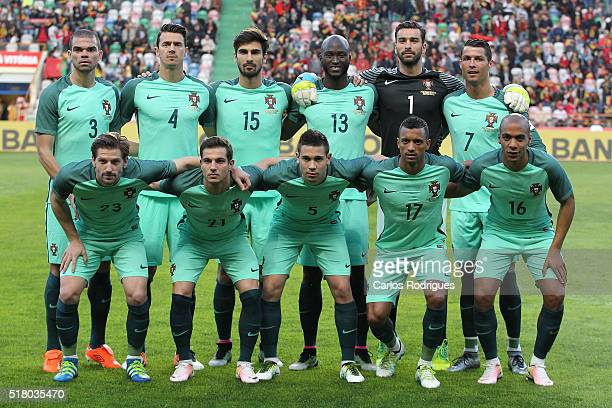 Portugal initial team during the match between Portugal and BelgiumFriendly International at Estadio Municipal de Leiria on March 29 2016 in Lisbon...