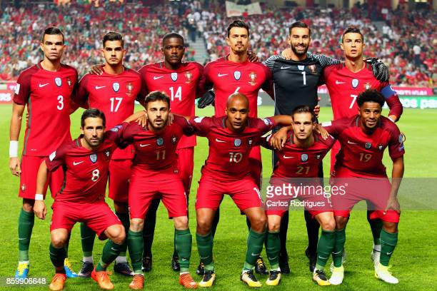 Portugal initial team during the match between Portugal and Switzerland for FIFA 2018 World Cup Qualifier at Estadio da Luz on October 10 2017 in...