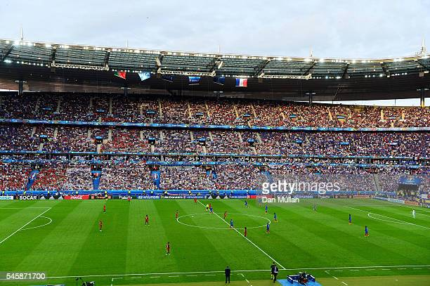 Portugal kick off the game during the UEFA EURO 2016 Final match between Portugal and France at Stade de France on July 10, 2016 in Paris, France.