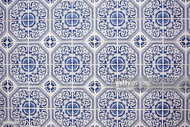 Portugal, Lagos, blue white Azulejos, close-up