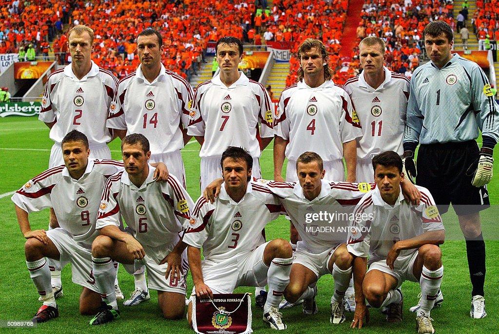 Latvian national football team players p : News Photo