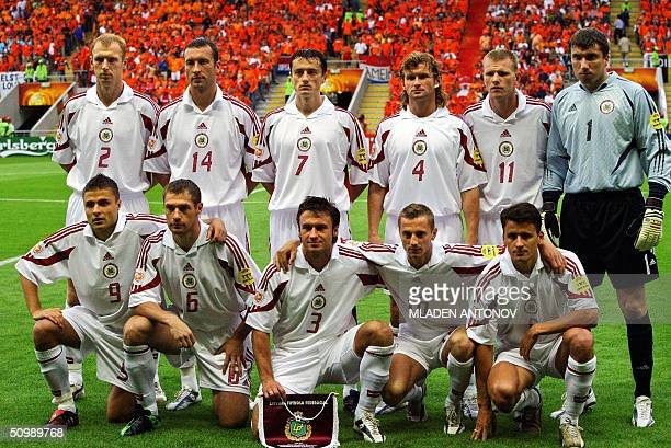 Latvian national football team players pose 23 June 2004 at Braga stadium before their Euro 2004 group D football match against The Netherlands at...