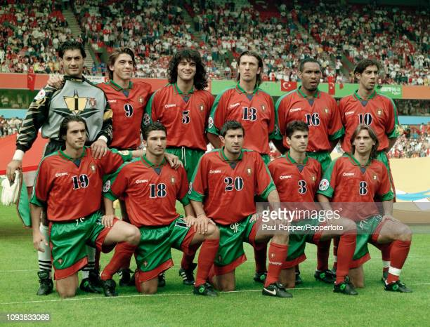 Portugal line up for a group photo before the UEFA Euro 1996 Group D match between Portugal and Turkey at the City Ground on June 14 1996 in...
