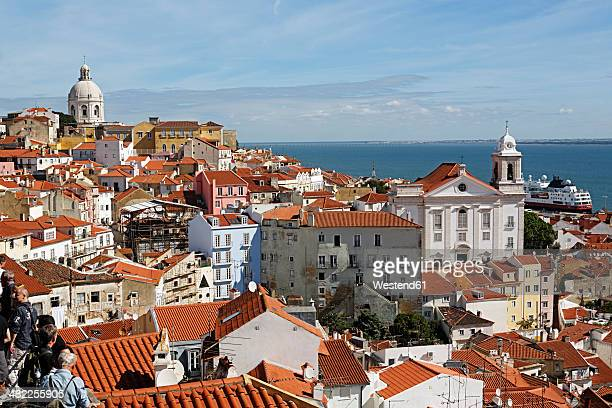 Portugal, Lisbon, Alfama, Miradouro de Santa Luzia, view over the roofs