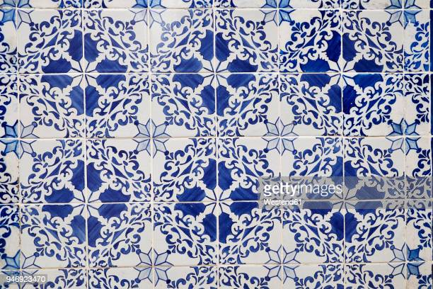 Portugal, Lisbon, Alfama, part of wall with white and blue azulejos