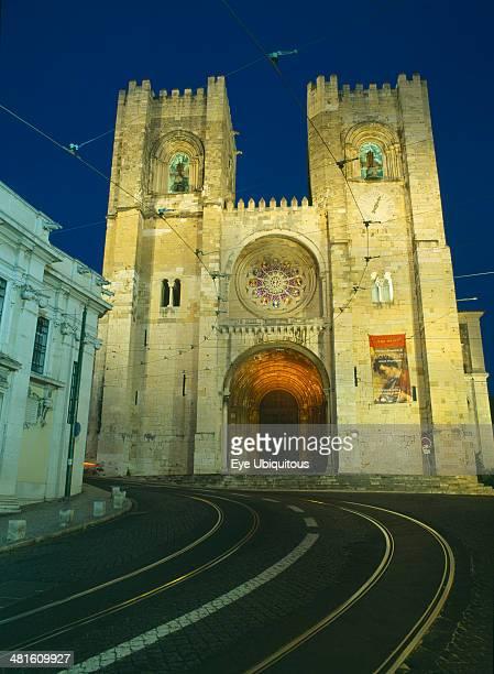 Portugal Lisbon Alfama Se Cathedral exterior facade at night