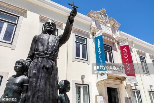 Portugal Lisbon Bairro Alto Saint Roch museum exterior with statue Roque Gonzalez de Santa Cruz missionary