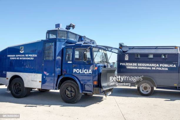 Portugal Lisbon Baixa Commerce Square Exposition with Policia de Seguran�a Publica vehicles