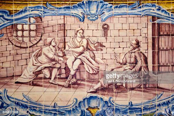 Portugal, Lisbon, Jeronimos monastery, azulejos in the Ancient Refectory