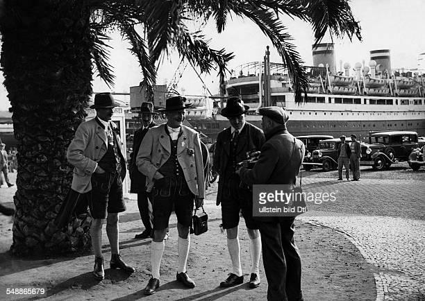 Portugal Lisbon KdF vacationers ' Kraft durch Freude ' at the port of Lisbon Photographer Herbert Hoffmann Published by 'Berliner Morgenpost' Vintage...