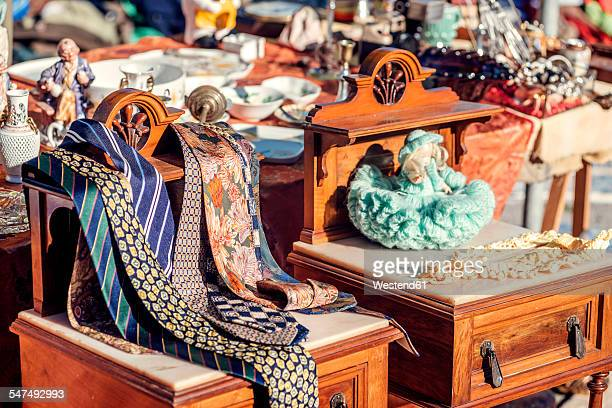 portugal, lisbon, old objects at feira da ladra flea market - flea market stock pictures, royalty-free photos & images