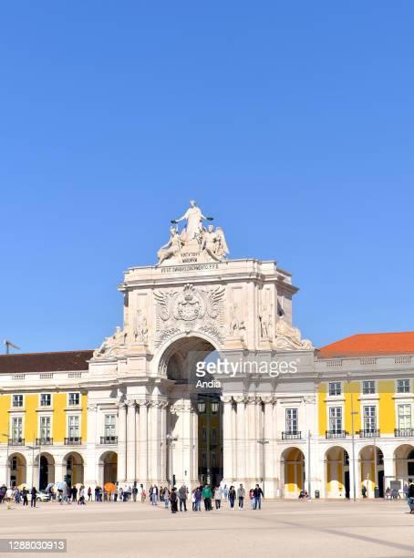 'Praca Do Comercio' square and the triumphal arch in Augusta Street, Arco da Rua Augusta.