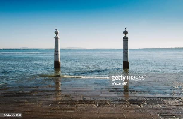 portugal, lisbon, river tagus, cais das colunas - バイシャ ストックフォトと画像
