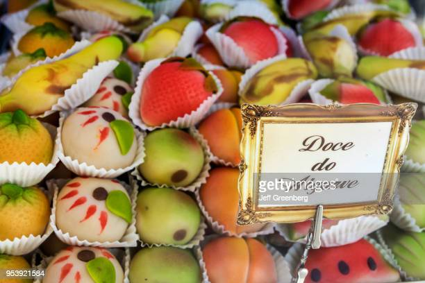 Portugal, Lisbon, Rossio Square, Pedro IV Square, Cafe Gelo marzipan cookies in fruit shapes.