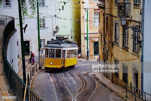 Portugal, Lisbon, tram in Alfama area
