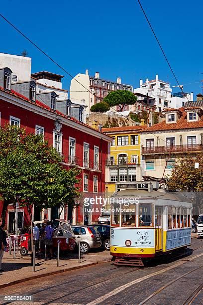Portugal, Lisbon, tram in Baixa prombalin