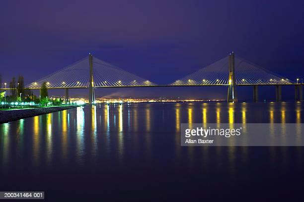 Portugal, Lisbon, Vasco da Gama Bridge, night