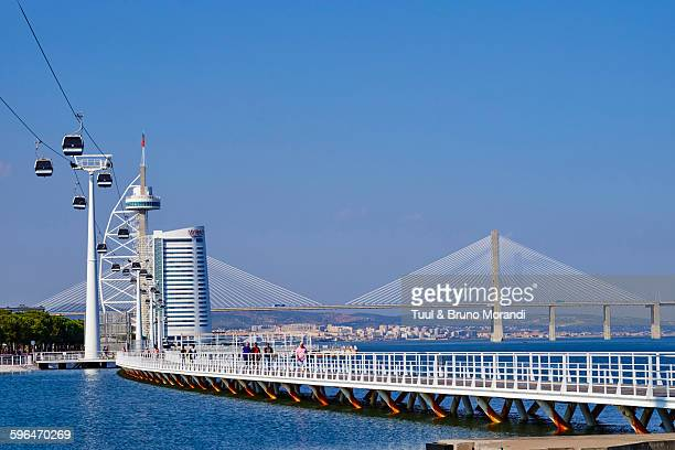 Portugal, Lisbon, Vasco da Gama's bridge and tower