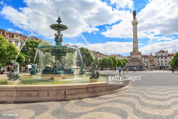 portugal, lisbon, view to rossio square - ロッシオ広場 ストックフォトと画像