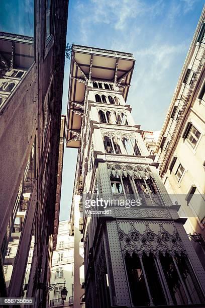 Portugal, Lisbon, view to Santa Justa Lift from below