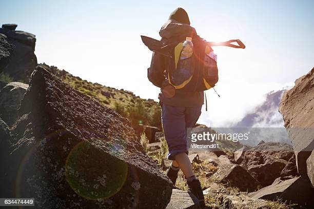 portugal, madeira, man on hiking trip along the levadas - madeira stock photos and pictures