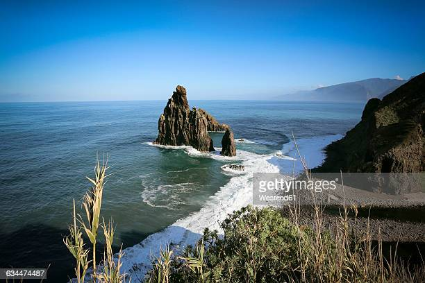 portugal, madeira, rock near porto moniz - madeira island stock photos and pictures