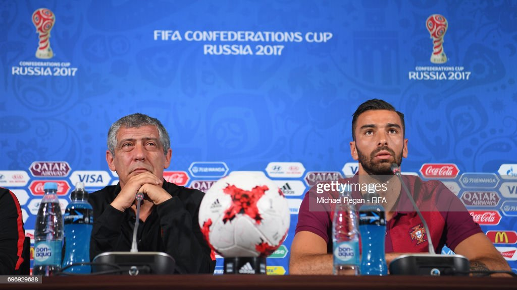 Portugal manager Fernando Santos and Rui Patricio speaks to the media during the Portugal Training and Press Conference on June 17, 2017 in Kazan, Russia.