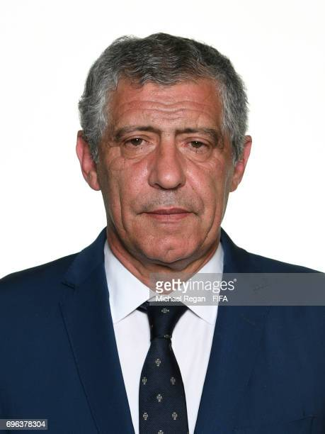 Portugal manager Fernando Santos poses for a picture during the Portugal team portrait session on June 15 2017 in Kazan Russia
