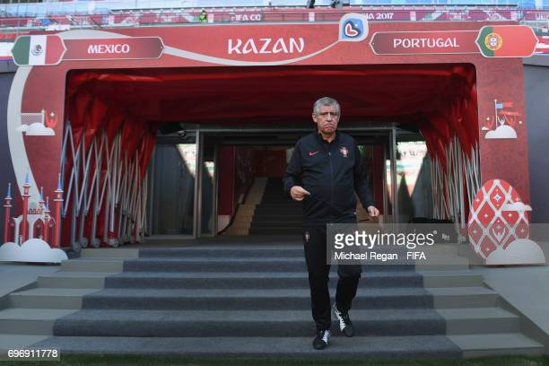 Portugal manager Fernando Santos walks out to training during the Portugal Training and Press Conference on June 17 2017 in Kazan Russia