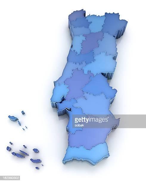portugal mapa de los distritos - zona urbana fotografías e imágenes de stock