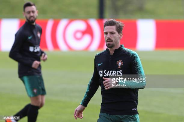 Portugal midfielder Adrien Silva during training session at Cidade do Futebol training camp in Oeiras outskirts of Lisbon on March 20 2018 ahead of...