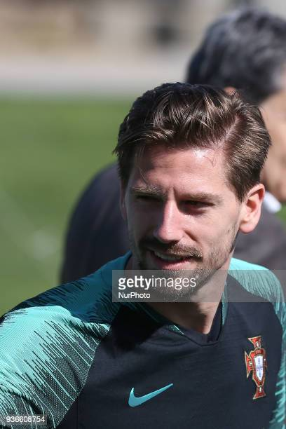 Portugal midfielder Adrien Silva during training session at Cidade do Futebol training camp in Oeiras outskirts of Lisbon on March 22 2018 ahead of...