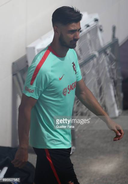 Portugal midfielder Andre Gomes arrives at Portugal's National Team Training session before the 2017 FIFA Confederations Cup matches at FPF Cidade do...
