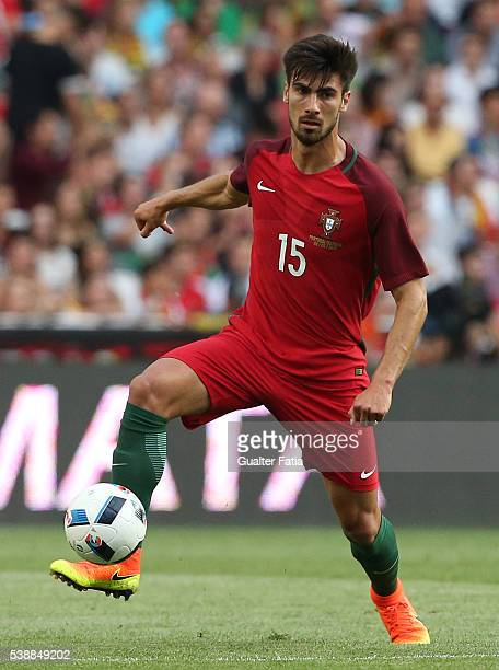 Portugal midfielder Andre Gomes in action during the International Friendly match between Portugal and Estonia at Estadio da Luz on June 8 2016 in...