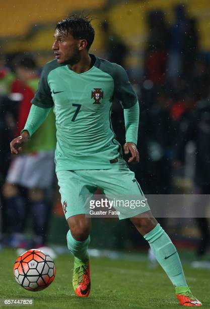 Portugal midfielder Joao Carvalho in action during the U21 International Friendly match between Portugal and Norway at Estadio Antonio Coimbra da...