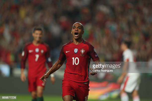 Portugal midfielder Joao Mario celebrates scoring a goal during the match between Portugal and Switzerland for FIFA 2018 World Cup Qualifier at...
