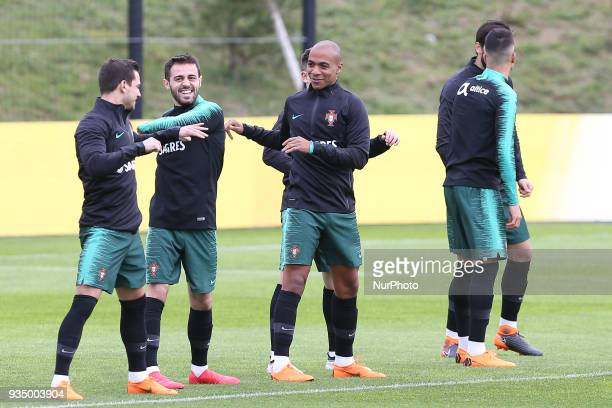Portugal midfielder Joao Mario during training session at Cidade do Futebol training camp in Oeiras outskirts of Lisbon on March 20 2018 ahead of the...