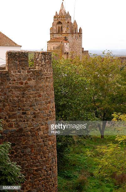 Portugal MontemoroNovo Walls of the Castle and Clock Tower at botton Built in 13th century Alentejo region