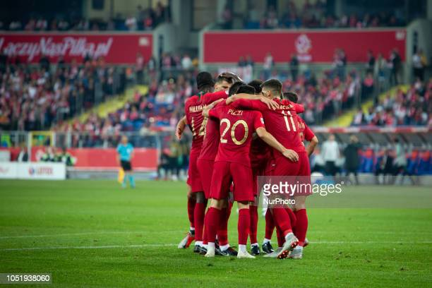 Portugal national football team during the UEFA Nations League A soccer match between Poland and Portugal at Silesian Stadium in Chorzow Poland on 11...