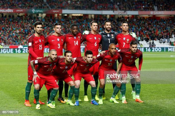 Portugal national team poses for the photo before the beginning of 2018 FIFA World Cup Qualifying Group B match between Portugal and Hungary at...