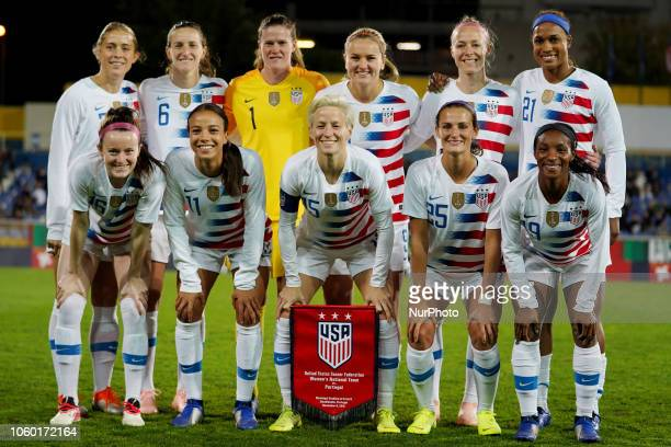 Portugal November 08 2018 LR Abby Dahlkemper And Sullivan Alyssa Naeher Lindsey Horan Becky Sauerbunn and Jessica McDonald of USA Front Row LR Rode...