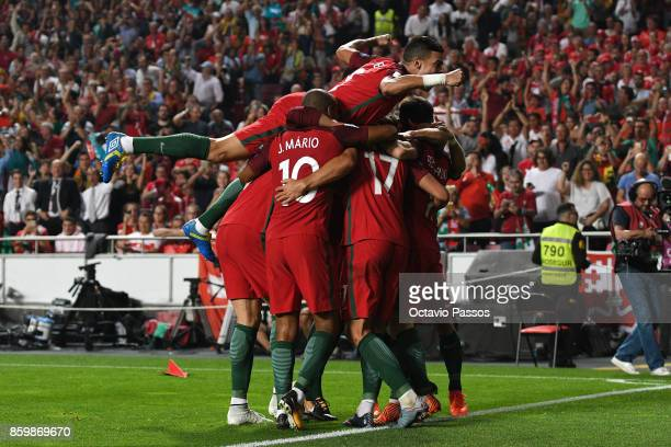 Portugal player celebrates after scores the second goal against Switzerland during the FIFA 2018 World Cup Qualifier between Portugal and Switzerland...