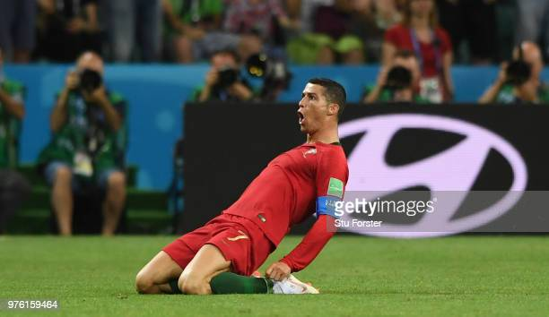 Portugal player Cristiano Ronaldo celebrates his second goal during the 2018 FIFA World Cup Russia group B match between Portugal and Spain at Fisht...