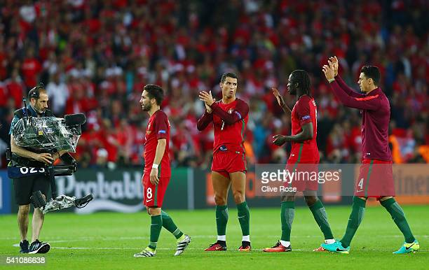 Portugal players applaud supporters following the UEFA EURO 2016 Group F match between Portugal and Austria at Parc des Princes on June 18 2016 in...