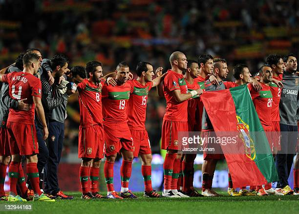 Portugal players celebrate at the end of the Portugal and Bosnia EURO 2012 qualifier play off second leg match at the Estadio da Luz on November 15...
