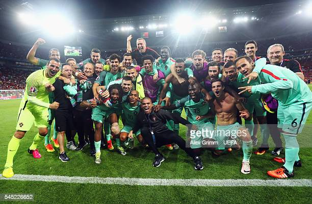 Portugal players celebrate their team's win after the UEFA EURO 2016 semi final match between Portugal and Wales at Stade des Lumieres on July 6 2016...